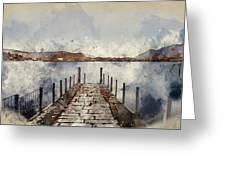 Digital Watercolor Painting Of Landscape Image Of Derwent Water  Greeting Card