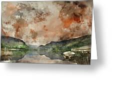 Digital Watercolor Painting Of Llyn Nantlle At Sunrise Looking T Greeting Card
