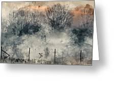 Digital Watercolor Painting Of Panorama Landscape Of Lake In Mis Greeting Card