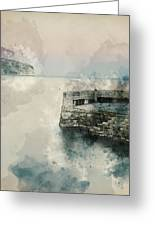 Digital Watercolor Painting Of Peaceful Landscape Of Stone Jetty Greeting Card