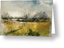 Digital Watercolor Painting Of Stunning Countryside Landscape Wh Greeting Card