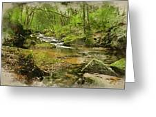 Digital Watercolor Painting Of Stunning Landscape Iamge Of River Greeting Card