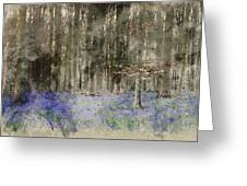 Digital Watercolor Painting Of Stunning Landscape Of Bluebell Fo Greeting Card