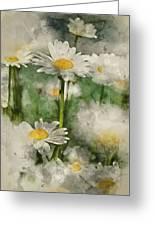 Digital Watercolor Painting Of Wild Daisy Flowers In Wildflower  Greeting Card