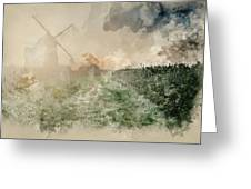Digital Watercolor Painting Of Windmill In Stunning Landscape On Greeting Card