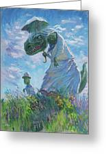 Dinosaur And Son With A Parasol  Greeting Card