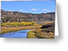 Distant Boat On The San Juan River In Fall Greeting Card
