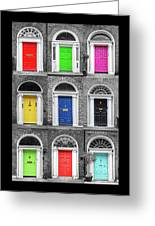 Doors Of Dublin - Vertical Greeting Card