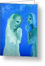 Double Portrait On Blue Sky Greeting Card