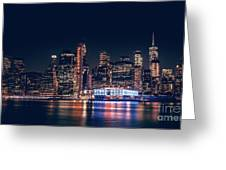 Downtown At Night Greeting Card by Dheeraj Mutha