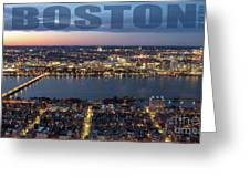Downtown Boston At Night With Charkes River In The Middle Greeting Card