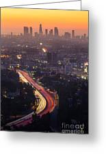 Downtown Los Angeles Skyline At Greeting Card