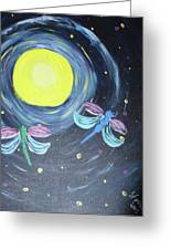 Dragonflies And Moonlight Greeting Card
