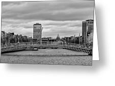 Dublin Ireland - Ha Penny Bridge In Black And White Greeting Card