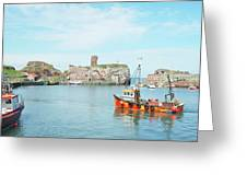 Dunbar Castle Ruins, Harbour And Fishing Boats Greeting Card