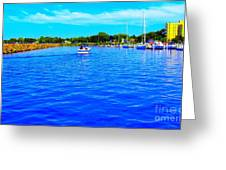 Dunkirk New York Harbor With Neon Effect By Rose Santucisofranko Greeting Card by Rose Santuci-Sofranko