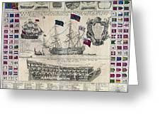 Early 18th Century British Man Of War Ship Diagram Greeting Card