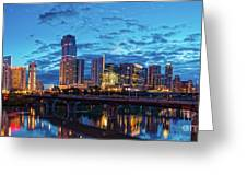 Early Morning Panorama Of Downtown Austin From South Lamar Bridge Over Lady Bird Lake - Austin Texas Greeting Card