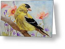 Early Spring American Goldfinch Greeting Card by Angeles M Pomata