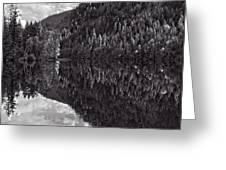 Echo Lake Reflection Black And White Greeting Card