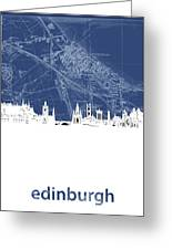 Edinburgh Skyline Map Blue Greeting Card
