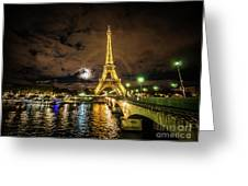 Eiffell Tower At Night After The Storm Passed Greeting Card