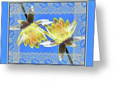 Electric Yellow Water Lilies Greeting Card