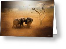 Elephants At Sunset 072 - Painting Greeting Card