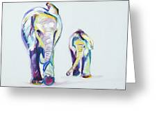 Elephants Side By Side Greeting Card