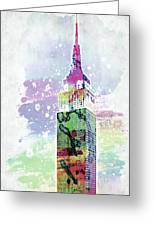 Empire State Building Colorful Watercolor Greeting Card