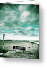 Empty Beach Bench Greeting Card