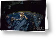 Italy From Space At Night Greeting Card