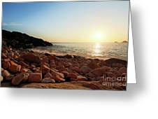 Evening Glow At Porth Nanven Greeting Card