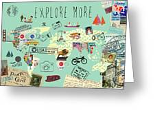 Exlore More World Map Greeting Card