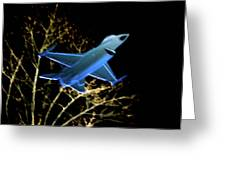F 16 Lit Up At Night On Glass Monument Greeting Card