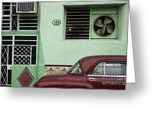 Facade And Oldtimer In Old Havana Greeting Card