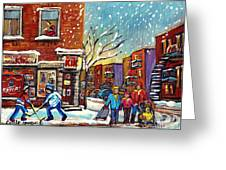 Face Off Street Hockey At The Corner Dep Snow Falling Streets Of Montreal Quebec Artist C Spandau Greeting Card