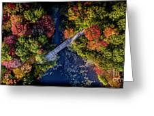 Fall Aerial With Bridge Greeting Card
