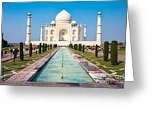 Famous Taj Mahal Mausoleum In In Bright Greeting Card