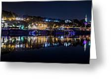 Fantastic Belgrade Night Reflection Greeting Card