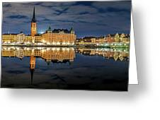 Fantastic Stockholm City Hall And Gamla Stan Reflection With Clouds Greeting Card