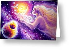 Fantasy Painting About The Flight Of A Dream In The Universe Greeting Card