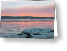 February Sunrise On The Hudson Greeting Card