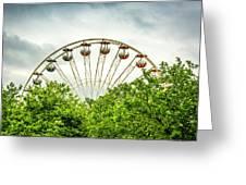 Ferris Wheel Behind Trees Greeting Card