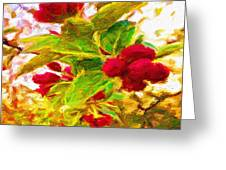 Festive Red Berries On Dancing Green Leaves Greeting Card