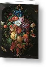 Festoon Of Fruit And Flowers, 1670 Greeting Card