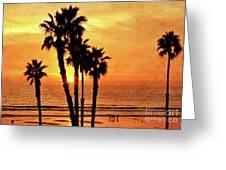 Fiery California Sunset Oceanside Beach Greeting Card