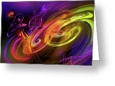 Cellist In Space Greeting Card
