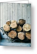 Fire Wood.  Home Living Concept Greeting Card