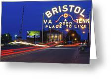First Night Of The Bristol Sign With New Led Bulbs Greeting Card
